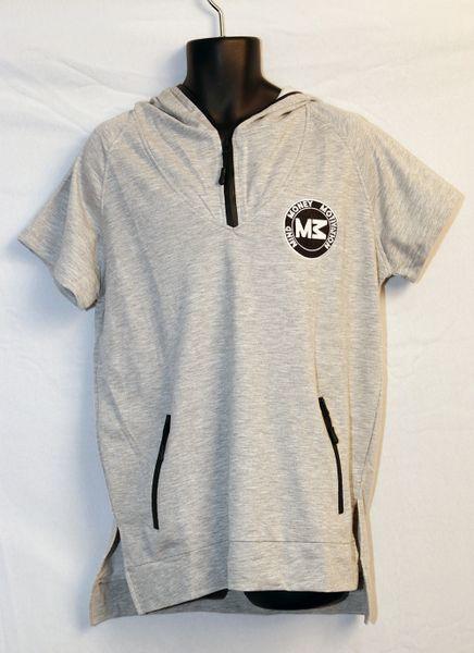 M3 Grey Short Sleeve Hoodie w/ Black Zipper