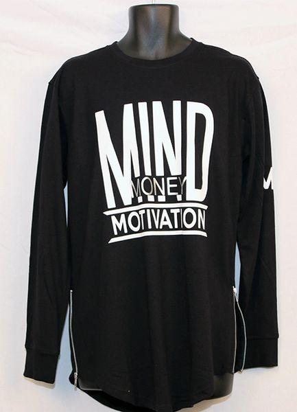 M3 Men's Black Long Sleeve w/ Side Zipper -Yezzy Style Shirt