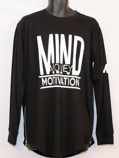 M3 Black and White Long Sleeve w/Side Zipper -Yezzy Style Shirt