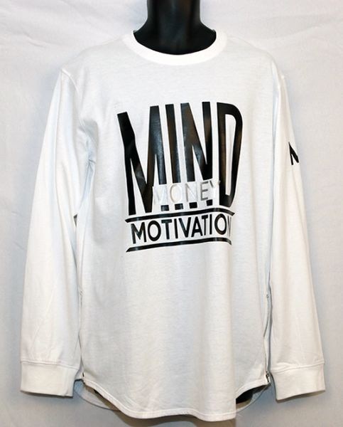 M3 Men's White and Black Long Sleeve w/Side Zipper -Yezzy Style