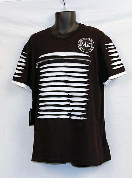 M3 Men's Black and White Short Sleeve Shredded w/Front Zipper