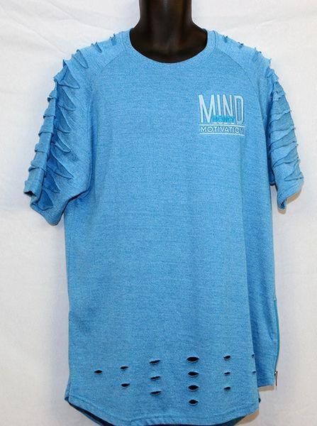 M3 Blue Short Sleeve Razored w/Side Zipper -Yezzy Style