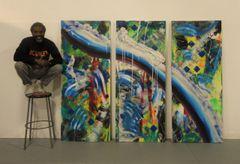 Water Slide Triptych Original