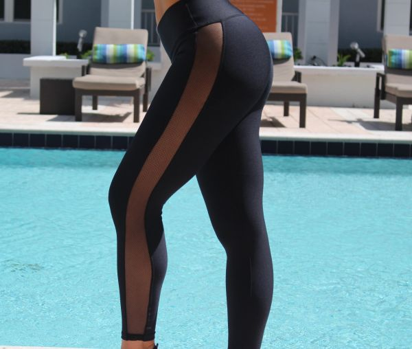 Black Side Mesh Leggings