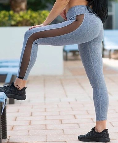 Gray Mesh Leggings