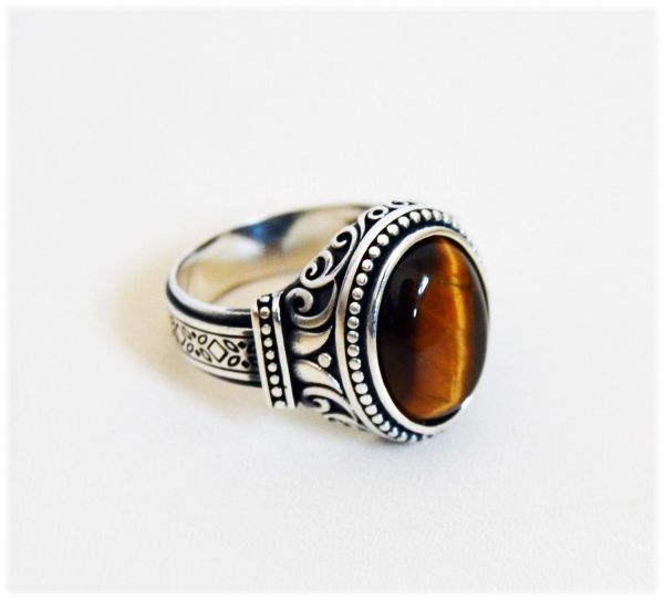 Details about  /Men/'s Ring Tiger/'s Eye 925 Sterling Silver Turkish Handmade Jewelry All Size #TR