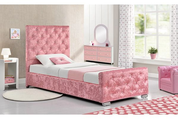 ed68a24a022 Beaumont Single Diamante Studded Pink Crushed Velvet Bed