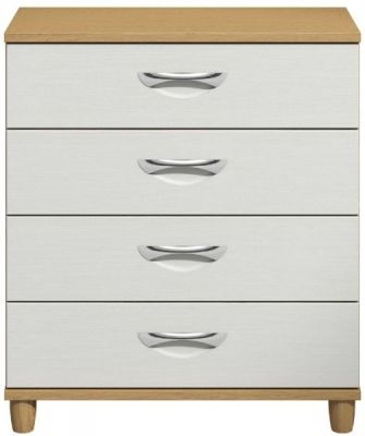 Moda Oak & white Chest of Drawers - 4 Drawers