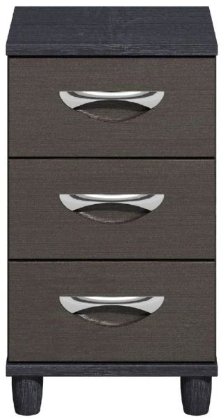 Moda Black Oak & Graphite Narrow Chest of Drawers - 3 Drawers
