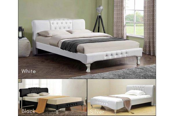 Knightsbridge Designer Bed Frame - White, Black Double or King Size