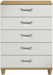 Moda Oak & white Large Chest of Drawers - 5 Drawers