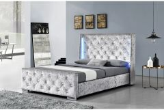 Dorchester LED Winged Headboard Silver Crushed Velvet or Grey Fabric- Double or King Size