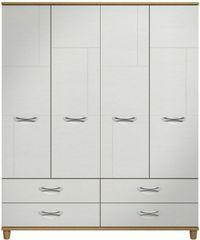 Moda Oak & white Wardrobe - 4 Doors 4 Drawers