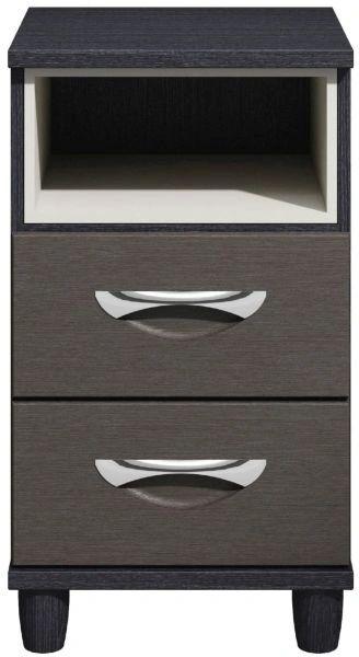 Moda Black Oak & Graphite Bedside Cabinet - 2 Drawers