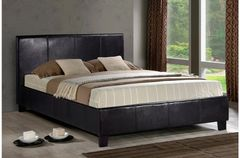 berlin faux leather bed frame black/brown/white