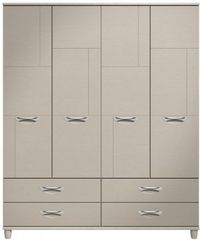 Moda elm & cashmere Wardrobe - 4 Doors 4 Drawers
