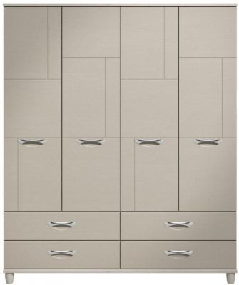 Moda elm & cashmere Wardrobe - 4 Doors 4 Drawers