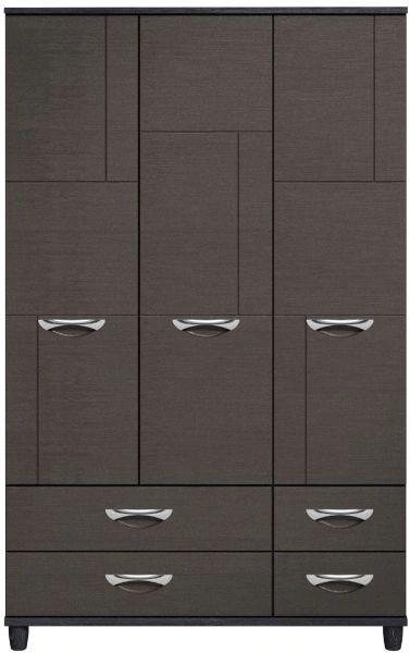 Moda Black Oak & Graphite Wardrobe - 3 Doors 4 Drawers