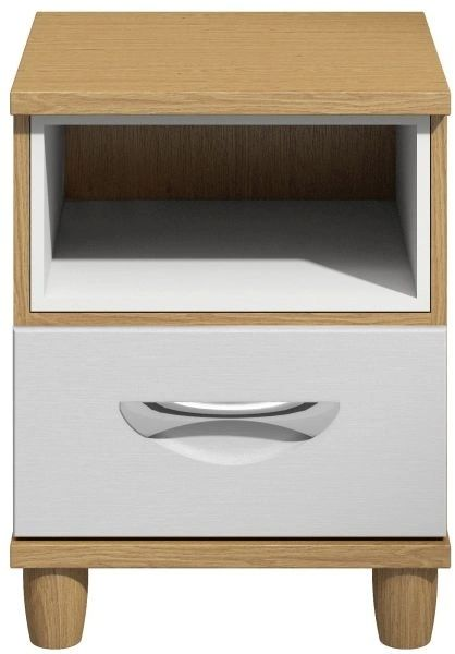Moda Oak & white Bedside Cabinet - 1 Drawer
