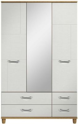 Moda Oak & white Wardrobe - 3 Doors 4 Drawers With Central Mirror
