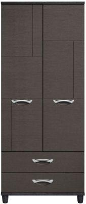 Moda Black Oak & Graphite Wardrobe - 2 Doors 2 draws