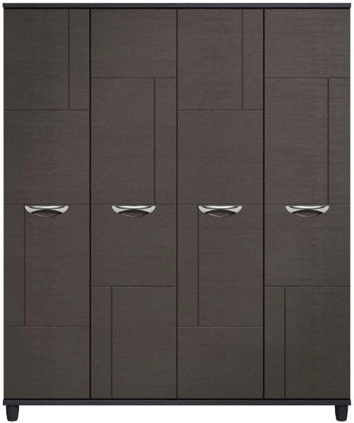 Moda Black Oak & Graphite Wardrobe - 4 Doors