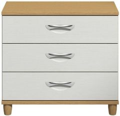 Moda Oak &white Wide Chest of Drawers - 3 Drawers