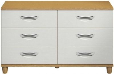 Moda Oak & white Chest of Drawers - 6 Drawers