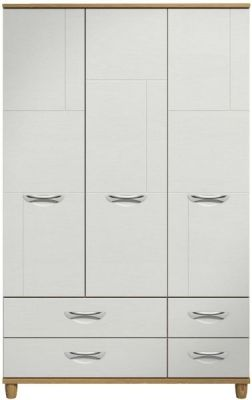 Moda Oak & white Wardrobe - 3 Doors 4 Drawers