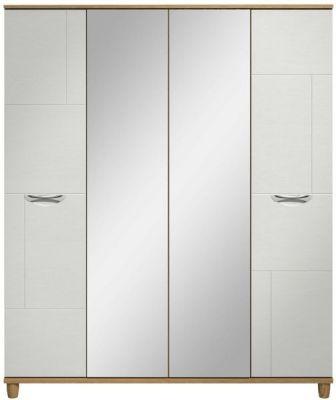 Moda Oak & white Wardrobe - 4 Doors With Central Mirrors