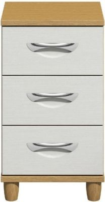 Moda Oak & white Narrow Chest of Drawers - 3 Drawers