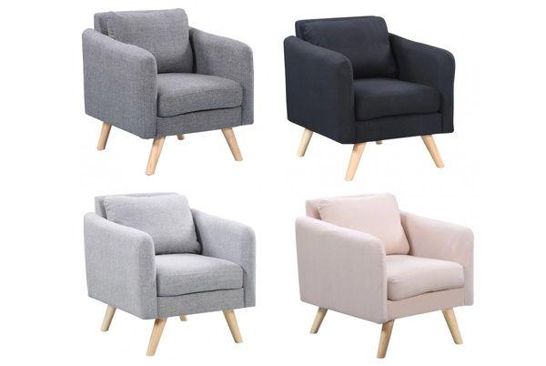 Longdon Modern Fabric Armchair Grey/Charcoal/Black/Cream
