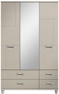 Moda elm & cashmere Wardrobe - 3 Doors 4 Drawers With Central Mirror