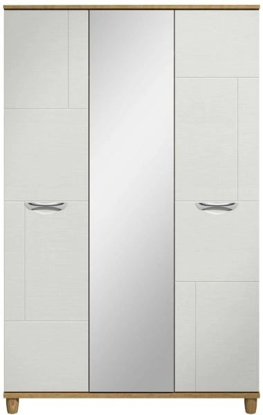 Moda oak & white Wardrobe - 3 Doors With Central Mirror