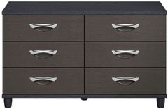 Moda Black Oak & Graphite Chest of Drawers - 6 Drawers
