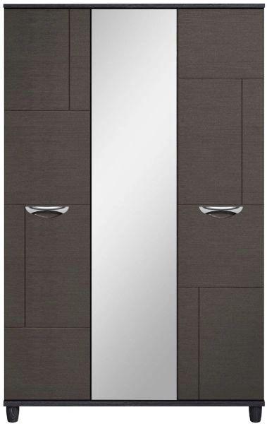Moda black oak & graphite Wardrobe - 3 Doors With Central Mirror