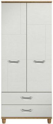 Moda Oak & white Wardrobe - 2 Doors 2 draws