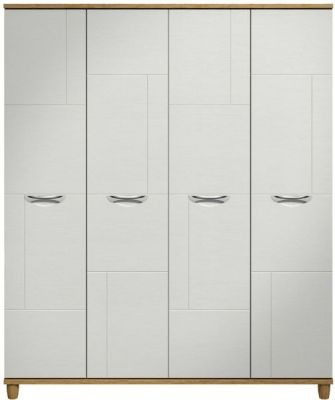 Moda Oak & white Wardrobe - 4 Doors
