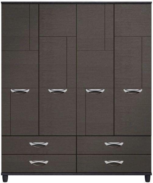 Moda Black Oak & Graphite Wardrobe - 4 Doors 4 Drawers