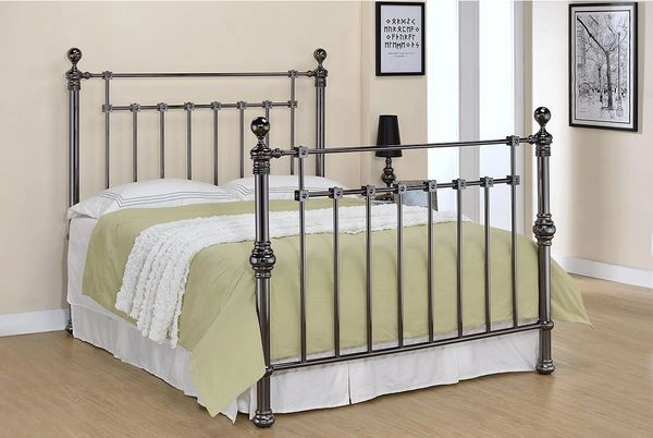 York Black Nickel Finish Bed Frame- Double or King Size