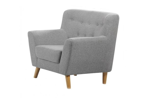 Lichfield Fabric One Seater Tub Arm Chair- Light Grey or Charcoal