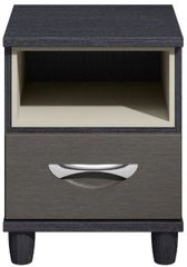 Moda black oak & graphite Bedside Cabinet - 1 Drawer