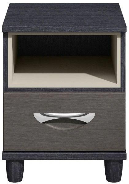 Moda black oak & graphite Bedside Cabinet - 1 Drawer