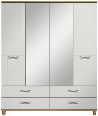 Moda Oak & white Wardrobe - 4 Doors 4 Drawers With Central Mirrors