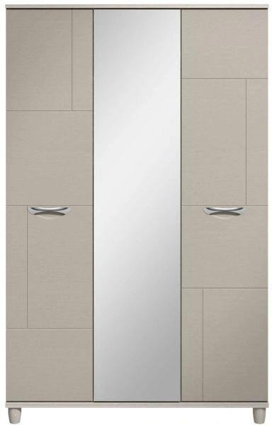 Moda elm & cashmere Wardrobe - 3 Doors With Central Mirror