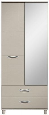 Moda elm & cashmere Wardrobe - 2 Doors 2 Drawers With Mirror
