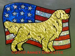 Golden Retriever Standing on USA Flag Magnet