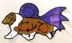 Shetland Sheepdog Trot With Ribbon Magnet - Choose Dog & Ribbon Color