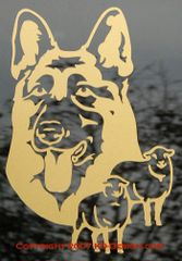German Shepherd Dog Headstudy with Sheep Decal
