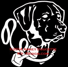 Labrador Retriever Headstudy with Obedience Leash & Dumbbell Decal